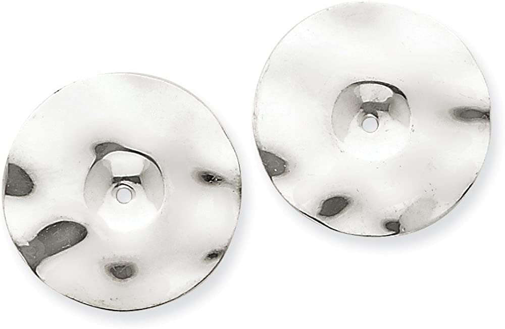Genuine 14k White Gold Polished Hammered Disc Earring Jackets 19x19mm
