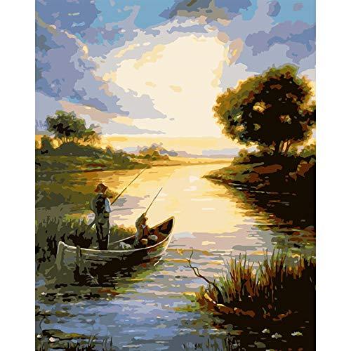 Pintar Por NumerosAdultos Pescando En Un Barco Salvaje Paisaje Diy Grande Pintura Al Óleo Kits Color Lienzo Facil Pincel Infantil Principiantes Con Marco 40X50Cm,Zhxx