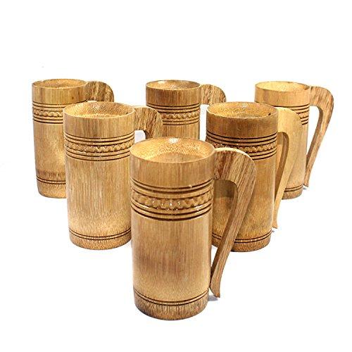 Tazas de cerveza hechas a mano Set de 6 | Arte de madera de bambú de arte ecológico