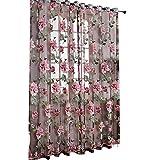 Set di 2 tende da finestra, ideali come divisorio, per porte, finestre, per decorare il balcone, la stanza da letto o il soggiorno, in voile trasparente, con motivo floreale