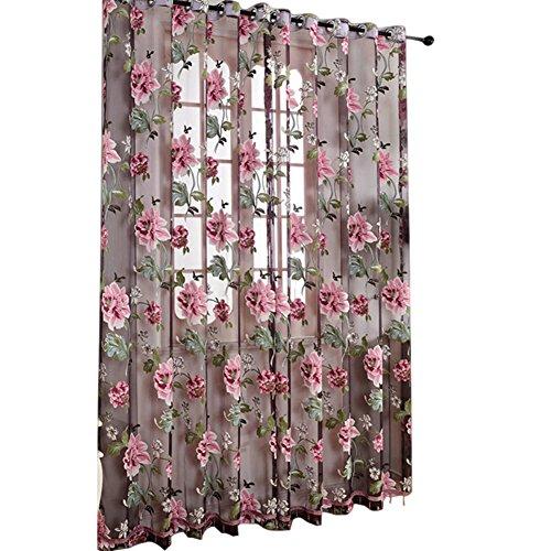2Pcs/set Window Curtain, Room Divider Drape Curtain, Transparent Door Windows Panel,Peony Flower Voile Curtains Balcony Room Decoration Curtains, Bedroom Living Room Decor Valance