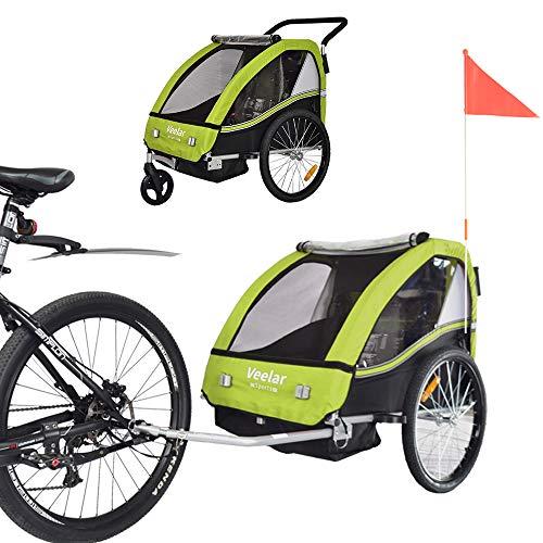 Tiggo Kinderfahrradanhänger Fahrradanhänger Jogger 2in1 Anhänger Kinderanhänger 50202-02 Grün