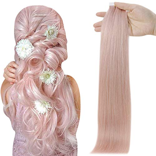 Full Shine Tape Extensions Remy Human Hair Color Pink Lilac Straight Hair Extensions 22 Inch 25 Gram Per Pack 10pcs Double Sided Skin Weft 100% Real Human Hair Brazilian Hair White Tapes