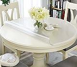 EN AyuL Protector de mesa de PVC transparente, protector de mesa redondo transparente, 100 cm/120 cm de plástico impermeable para mantel de comedor (mate, 105 cm)