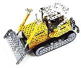 Tronico 10039 - Metallbaukasten Planierraupe Liebherr mit Motorengeräusch, Maßstab 1:32, Mini Serie, gelb, 551 Teile