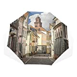 LASINSU Mini Ombrello Portatile Pieghevoli Ombrello,Stampa europea di strade Heidelberg,Antivento Leggero Ombrello per Donna