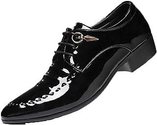Scarpe Eleganti da Uomo in Pelle Verniciata Stringate Stringate con Punta a Punta Scarpe da Cerimonia per Matrimonio