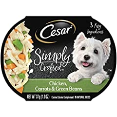 Contains ten (10) 1.3 oz. tubs of CESAR SIMPLY CRAFTED Wet Dog Food Cuisine Complement with chicken, carrots, and green beans Made with 5 ingredients or less for a wholesome addition to any meal with more flavor and less filler Our recipe's first ing...
