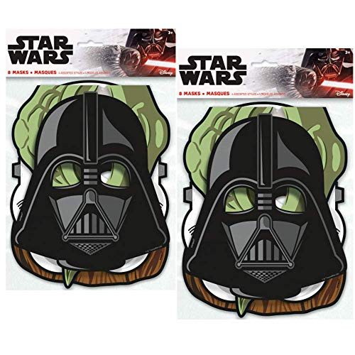 Star Wars Birthday Party Masks ft. Yoda, Chewbacca, Darth Vader and Storm Trooper, 8 ct (2 Pack) - coolthings.us
