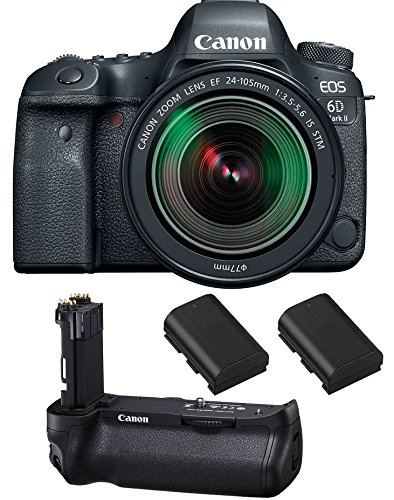 Canon EOS 6D Mark II DSLR Camera with EF 24-105mm f/3.5-5.6 IS STM Lens, Canon BG-E21 Battery Grip, 2 Spare Batteries