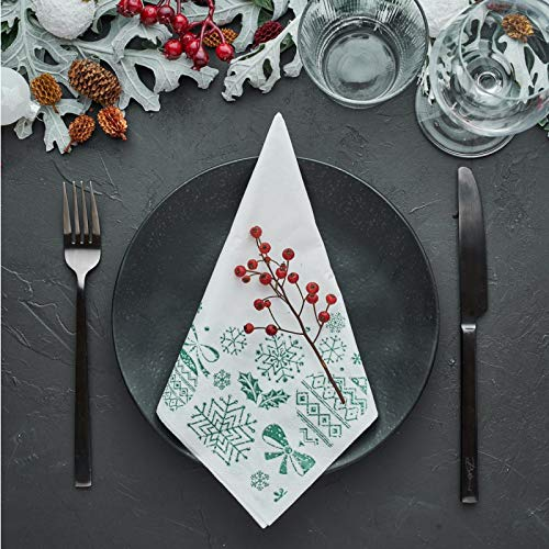 LA PAJARITA 40 Servilletas de Navidad de papel Decoradas Verdes Punta Punta 40x40 cm MERRY