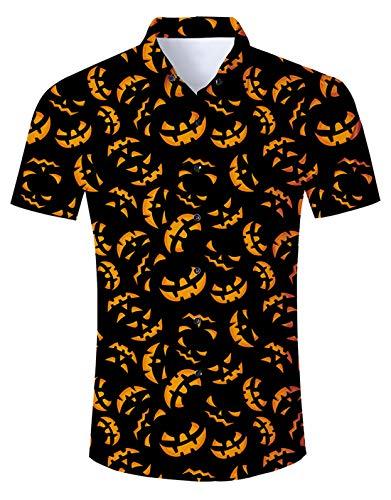 Mens Halloween Dress Shirt Womens Horror Pumpkin Button Down T Shirts Short Sleeve Scary 3D Comfy Costumes Adult Summer Vacation Holiday 70S Top Slim Fit Round Neck Apparel Lightweight Black XXL