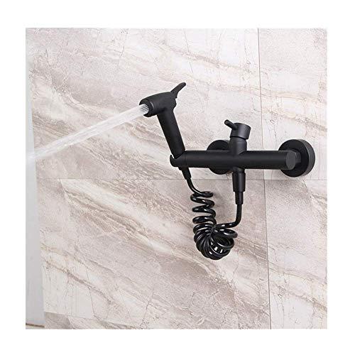 Rociador de bidé negro con agua fría y caliente, latón, paño portátil, lavadora de pañales, rociador de ducha, juego de rociador de ducha de baño montado en la pared, grifo de bidé para higiene pers