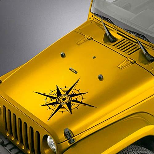 SkunkMonkey - Hood Decal fits Jeep Wrangler TJ LJ JK JKU - Compass Sticker - Matte Black Stickers