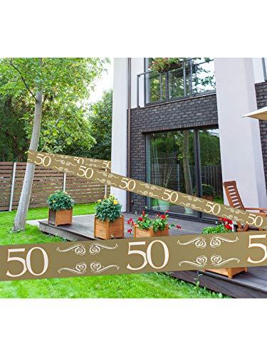 Folat Absperrband 50 zur Goldenen Hochzeit, PVC, ca. 15 Meter x 7,5 cm.