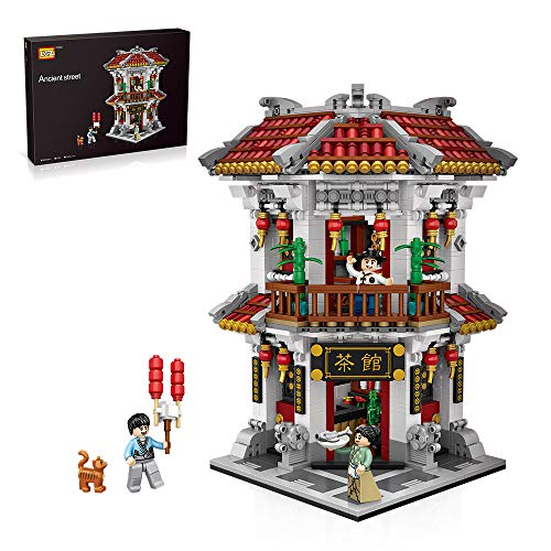LOZ Educational Learning Blocks Chinese Ancient Creative Building Play Set Tea House for Kids Age 6-12 and Up (1645 Pieces)