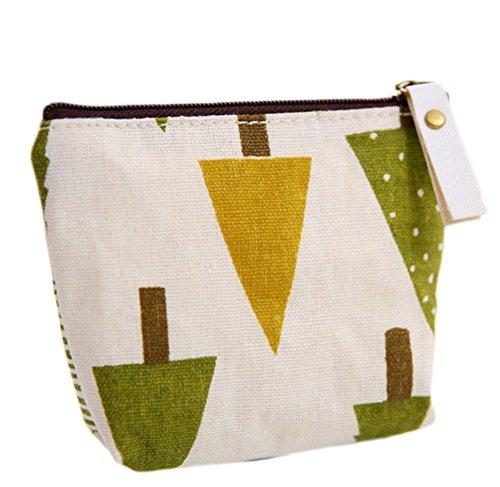 Dosige 1 stuks portemonnee met ritssluiting, voor dames, mini-portemonnee, sleutels, kaarten, portemonnee, linnen, lippenstift, houtpatroon afmeting 11,5 x 9,5 cm (groen)