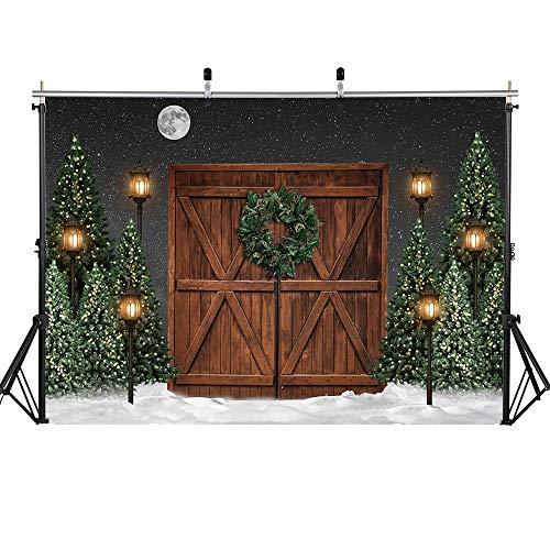 Fondo de fotografía Navidad Nieve Árboles de Navidad Campo de Nieve Telón de Fondo Bosque de Invierno Cumpleaños Sesión fotográfica artística A11 5x3ft / 1.5x1m