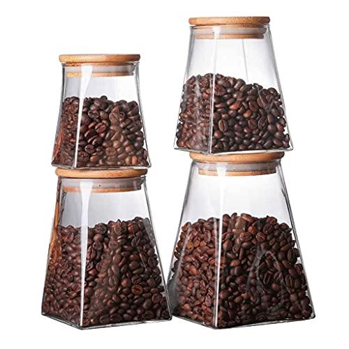 Agal Conjunto de contenedores Jars De Vidrio Trapezoidal En Casa Borosilicato De Vidrio Buñuelos De Cocina con Pila De Bambú con Apretado De Bambú Set-4 Tarros de Cocina