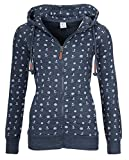 EwigYou Damen Kapuzenjacke Hoodie mit Fleece-Innenseite Sweatshirt Große Größen Übergangsjacke SweatjackeEU XS/Herstellergröße L Dunkelblau