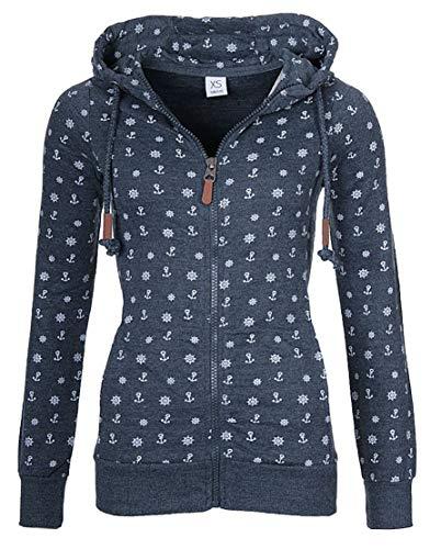 EwigYou Damen Kapuzenjacke Hoodie mit Fleece-Innenseite Sweatshirt Große Größen Übergangsjacke Sweatjacke, Dunkelblau, S
