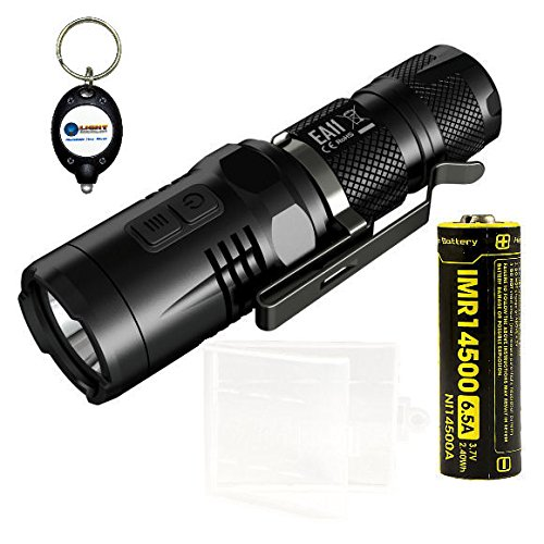 BUNDLE: NiteCore EA11 White and Red LED Flashlight with NiteCore IMR 14500 battery, Case, and LightJunction Keychain Light