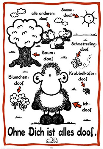 Sheepworld Poster ohne dich ist Alles Doof + accessoires 20 bandes tesa Powerstrips