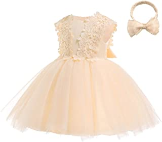 KINDOYO Newborn Baby Girls Tulle Sleeveless Dresses - Embroidery Prom Gown Princess Wedding Dress Birthday Photo Shoot Tutu Ball Gown, Gold, 6M