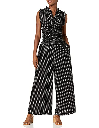 Max Studio Women's V Neck Shirred Waist Jumpsuit, Black/Off White Dot, Extra Large