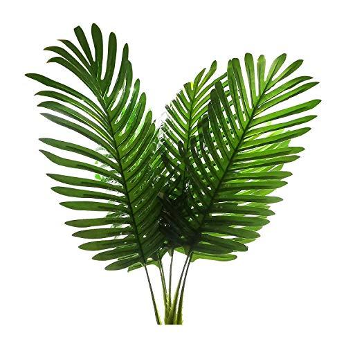 SODIAL Plantas Artificiales de Palma Hojas Decoraciones,ImitacióN Grandes Hojas Palmeras Tropicales Helechos ImitacióN para el Hogar Cocina Fiesta Arreglo de Flores de Boda,Paquete de 5