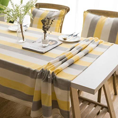 Mantel de mesa a rayas, impermeable, decorativo, diseño de rayas, color amarillo, gris, rectangular, para mesa de comedor