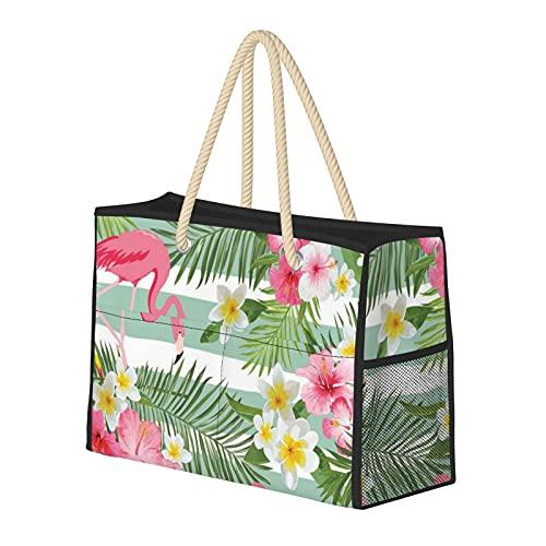 Bolsas de playa para mujer con flamencos tropicales grandes, bolsa de viaje, bolsa de almacenamiento para el semanario de la piscina, bolsa de hombro para playa, viajes, gimnasio