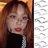 Haluoo 2019 ファッション レディース レンズチェーンなし ペンダント装飾 フラットミラーサングラス メタルフレーム メガネ