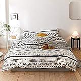 Boho Comforter Set Queen (3pcs) 100% Cotton Filling Insert Comforter Set White Striated Reversible Insert Comforter Set for All Season Queen 90'x90'