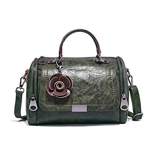 Mn&Sue Duffel Style Handbags for Women Small Top Handle Satchel Crossbody Mini Barrel Purse (Dark Green)