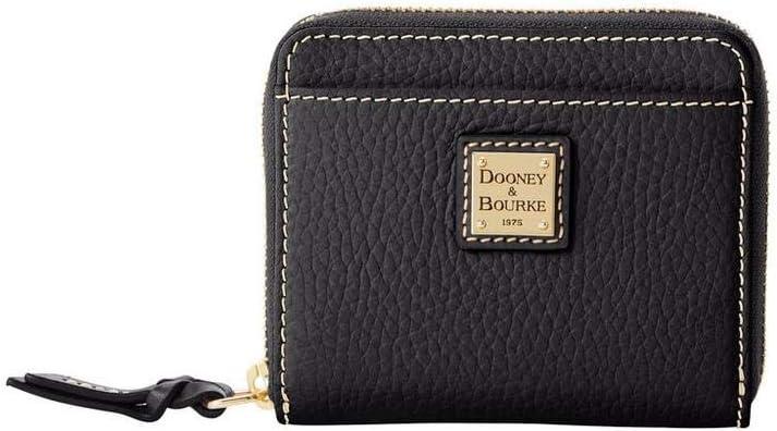 Dooney & Bourke Small Zip Around Pebble Credit Card Wallet Black/Black trim