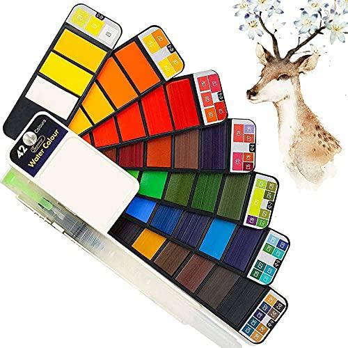 Acuarela Juego de Pintura de Bolsillo de Viaje, Juego de Pintura portátil de Acuarela sólida con lápices de Acuarela, Ideal para Profesionales y Principiantes - 42 Colores