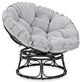 BELLEZE Papasan Chair with Fabric Tufted Cushion and Sturdy Steel Frame, 360-Degree Swivel, Grey