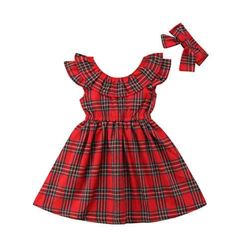 Toddler Baby Girl Plaid Christmas Dress Romper Ruffle Red Plaid Princess Dress Xmas Clothes Party Dress Fall Outfits(5-6Y, Baby Girl Plaid Dress O)