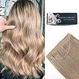 ABH AmazingBeauty Hair Halo Hair Extensions -- Invisible Miracle Wire 100% Remy Human Hair, Ash Silver Blonde 18S, 16 Inch