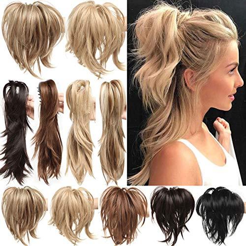 Clip in Extensions Pferdeschwanz Haarverlängerung mit Jaw Claw Ponytail Amzing Form Anpassen Hochsteckfrisur Haarteil für Frauen Ombre 30cm Bleichmittel Blond