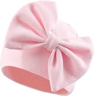 XIAOHAWANG Nouveau-Né Bébé Fille Bonnet Arcs Bébé Chapeau en Coton Noeud Hôpital Bébé Casquettes pour 0 à 6 Mois