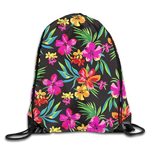shenguang Hawaiian Colorful Flower Mochila Deportiva con cordón Gimnasio Yoga Sackpack String Bag Bolsa de Almacenamiento de Viaje para Mujeres y Hombres Adecuado para la Escuela Natación Correr P