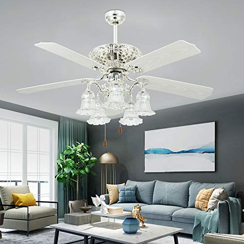 Tropicalfan 52 Antique Ceiling Fan With Light Elegant Chandelier Fan With Remote Vintage Electrical Fan With 5 Plastic Blades For Indoor Living Room Home Decorations White Buy Online In Macau At Macau Desertcart Com