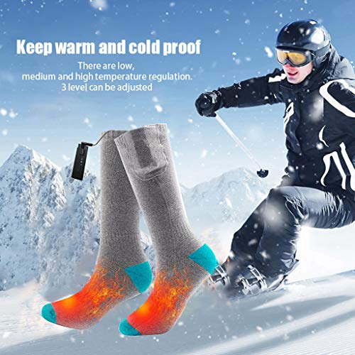 Haluoo USB Heated Socks, Rechargeable Battery Heated Socks Kit for Chronically Cold Feet for Women Men, Electric Heating Winter Warm Socks for Sports Camping Hiking Climbing Ski Foot Warmer (Gray)