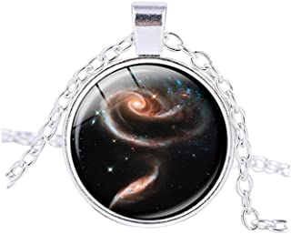 vdfr521?Galaxyペンダント星雲宇宙ネックレスジュエリーGalaxyネックレスメンズレディースfor Him彼女(シルバー)