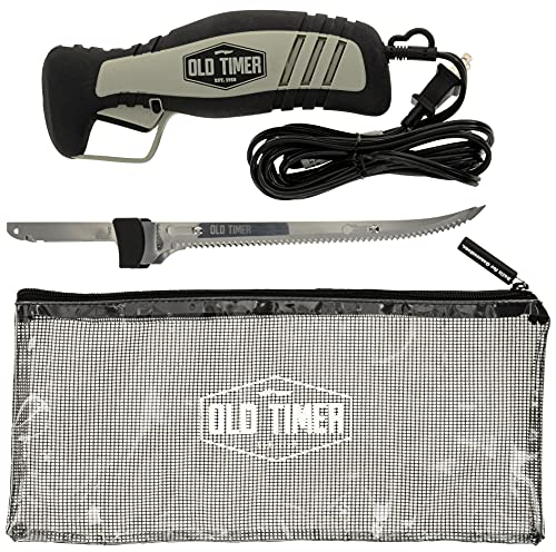 Old Timer 110V Electric Fillet Knife with 8in Stainless Steel Blade, 8ft Cord, Trigger Lock and Carry Case for Outdoor, Hunting, Fishing, and Camping