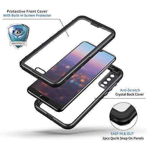 Lanhiem für Huawei P20 Pro Hülle, IP68 Zetrifiziert Wasserdicht Handy Hülle 360 Grad Schutzhülle, Stoßfest Staubdicht und Schneefest Outdoor Schutz mit Eingebautem Displayschutz - Schwarz - 5