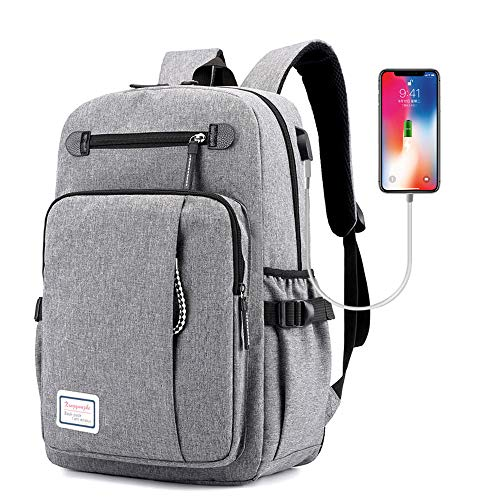 Laptop Backpack,School Backpack with USB Charging Port Computer Bag Business Travel Rucksack Casual Daypack Fits 15.6 Inch Laptop for College Men and Women(Gray)
