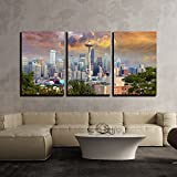wall26 - 3 Piece Canvas Wall Art - Seattle Washington Cityscape Skyline with Stormy Sky - Modern Home Decor Stretched and Framed Ready to Hang - 24'x36'x3 Panels